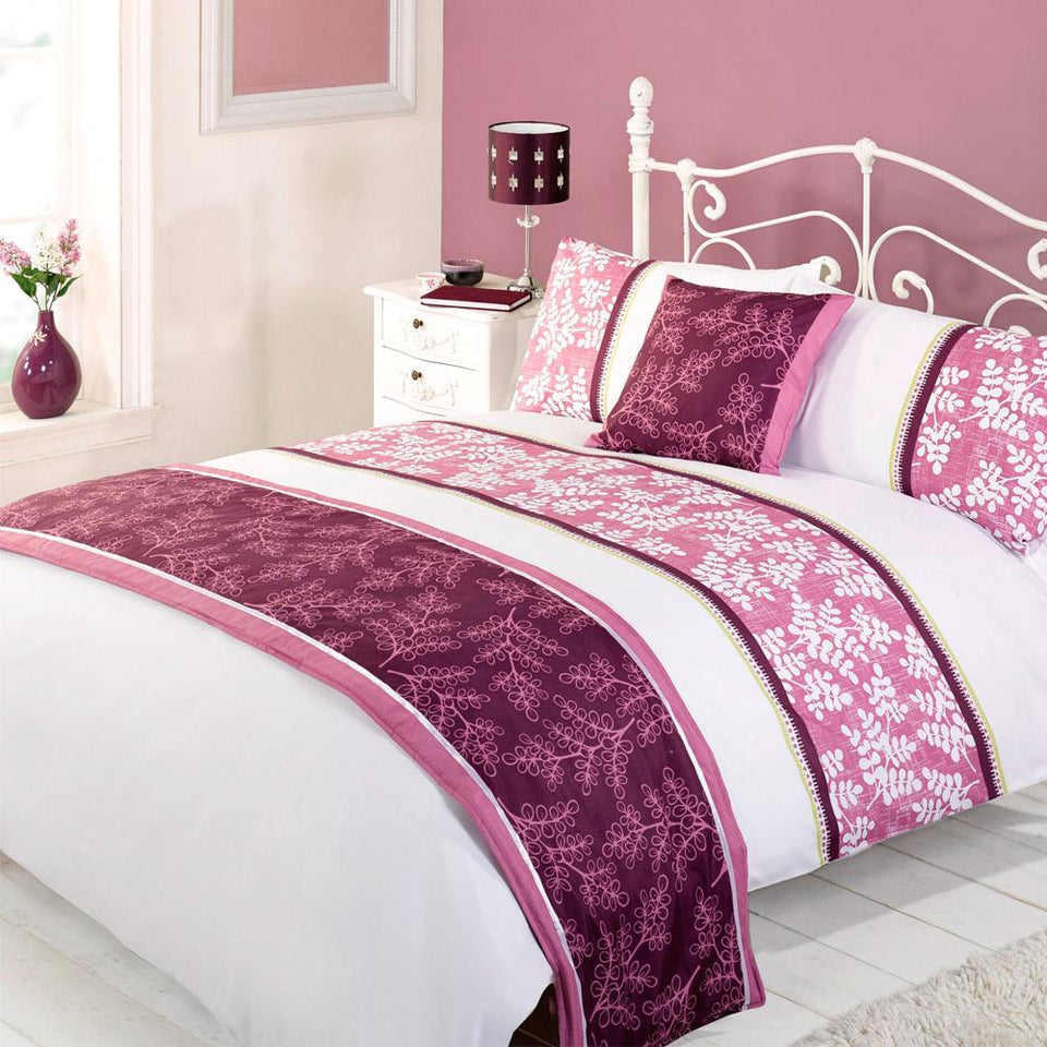 Textiles - Bed In A Bag Duvet Bedding Set Quilt Cover - Lacey Aubergine - Single