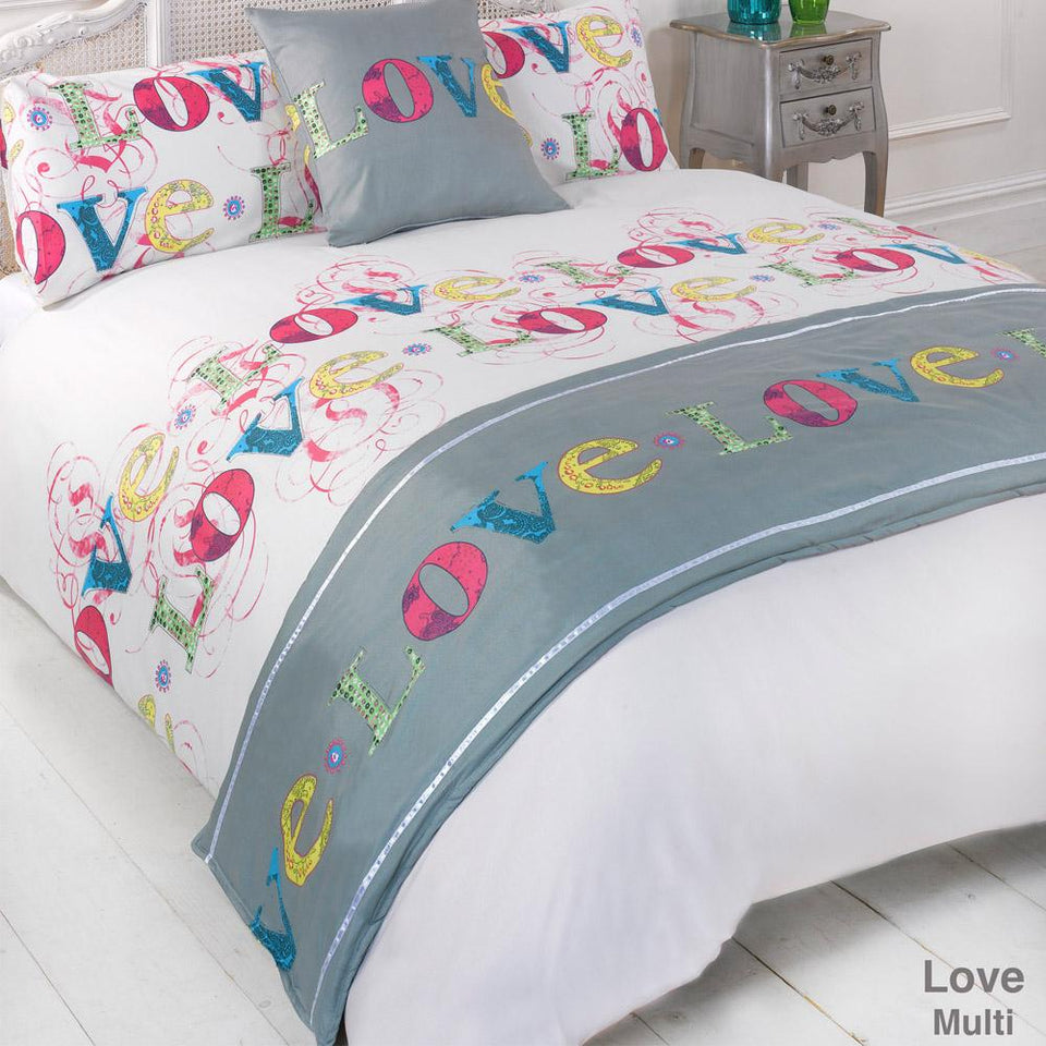 Textiles - Bed In A Bag Duvet Bedding Set Quilt Cover - Love Multi - Double