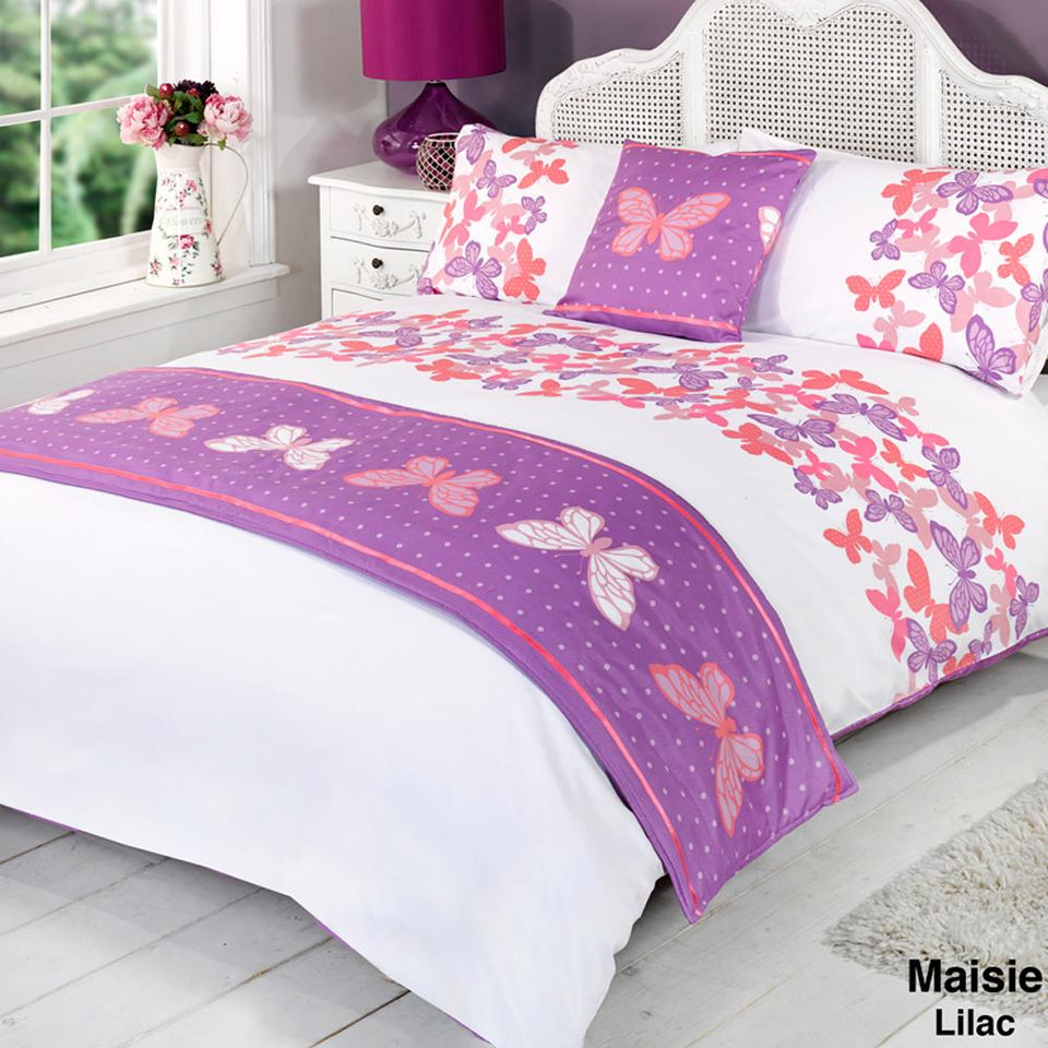 Textiles - Bed In A Bag Duvet Bedding Set Quilt Cover - Maisie Lilac - Super King