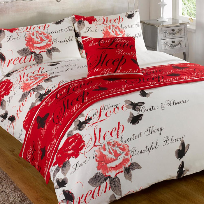 Textiles - Bed In A Bag Bedding Duvet Set - Odette Red - Single