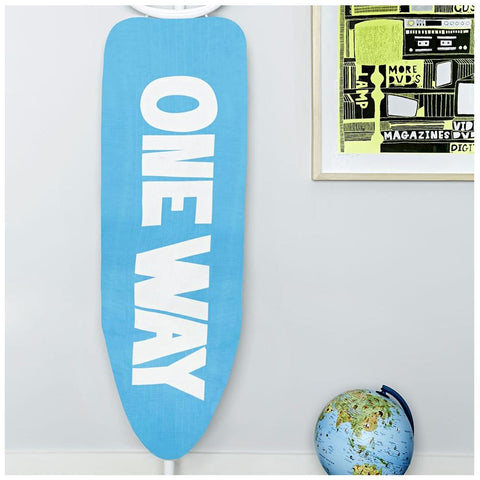 Urban Outfitters Ironing Board Cover - Modern Blue & White Te x t Design