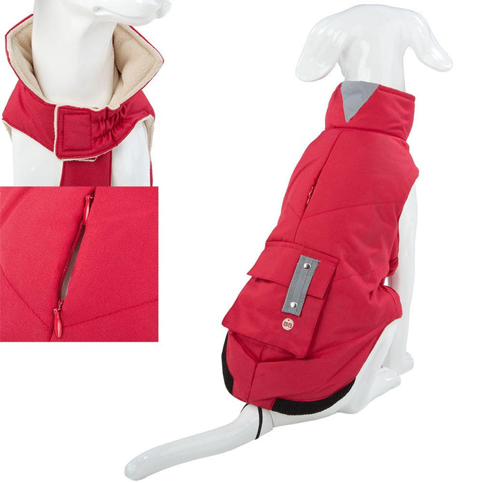 Pet Clothing - Waterproof Padded Dog Coat Red 30 Small