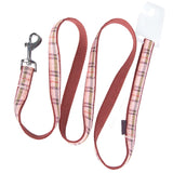 Pet Dog Lead & Clip Plaid Pink - 1m - 1.6cm - S