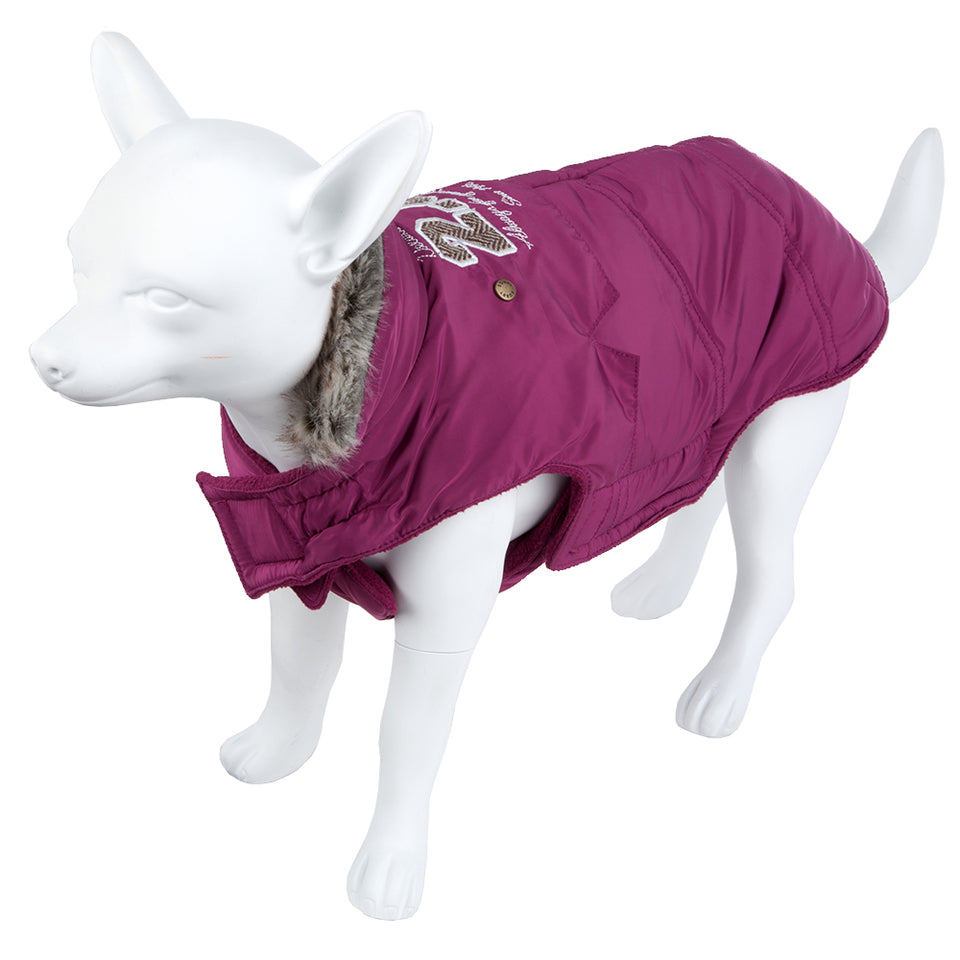 Pet Clothing - Padded Faux Fur Dog Coat Purple 32 Small