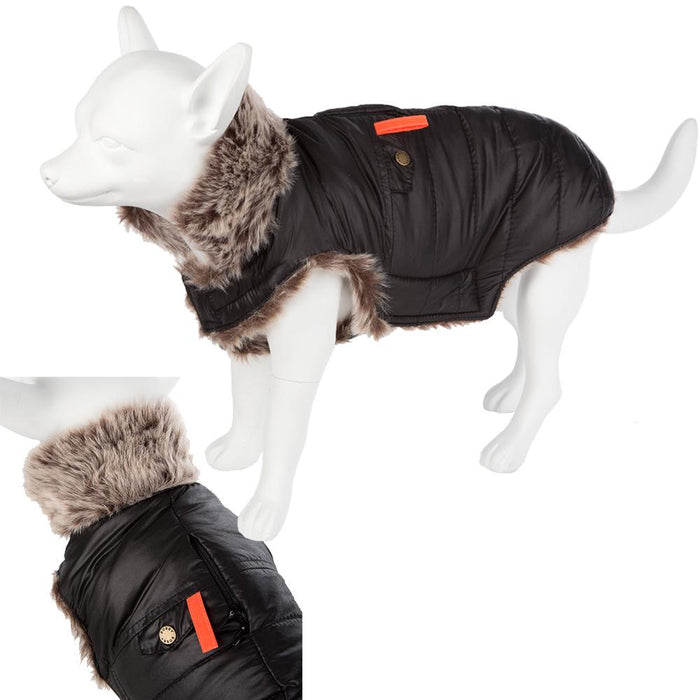 Pet Clothing - Padded Faux Fur Dog Coat Black 34 Small