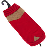 Knitted Dog Jumper Red/Beige 29 Small
