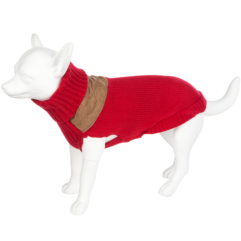 Pet Clothing - Knitted Dog Jumper Red/Beige 45 Large