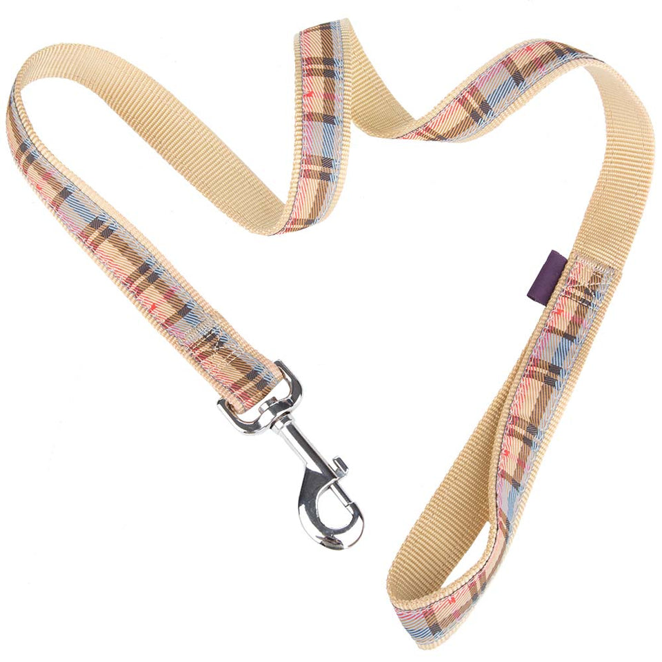 Pet Supplies - Pet Dog Lead & Clip Plaid Beige 1m - 1cm - S