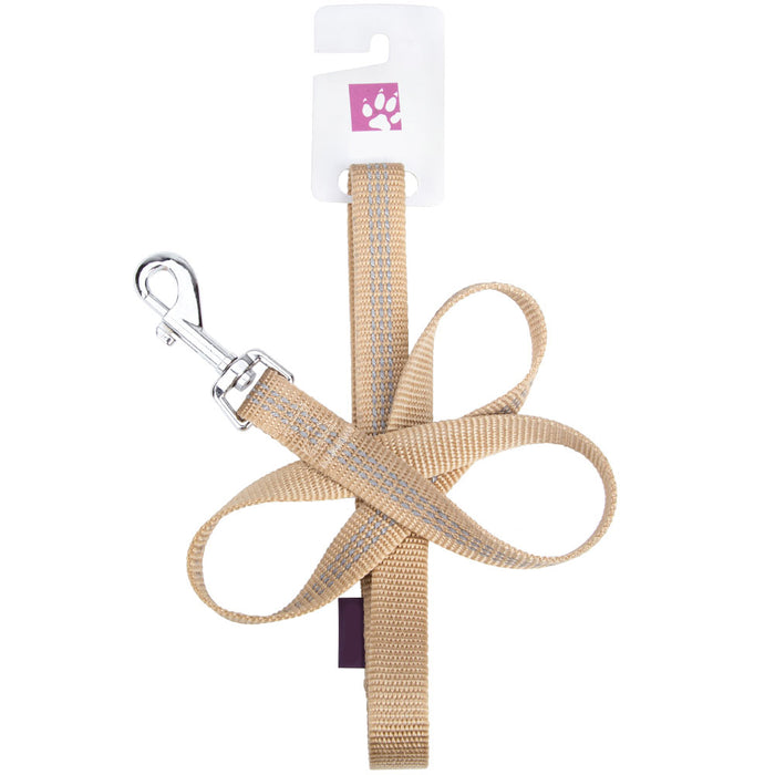 Pet Dog Lead & Clip Small Striped Beige/Grey - 102cm