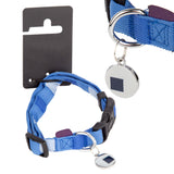 Pet Dog Puppy Collar & Tag Blue Square- M 34-48cm