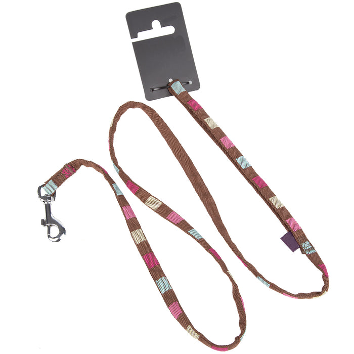 Pet Dog Lead Square Print Strap - X Small - Brown