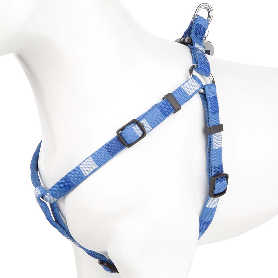 Pet Dog Harness Nylon Adjustable Soft Square Strap -Small- Blue/Multi