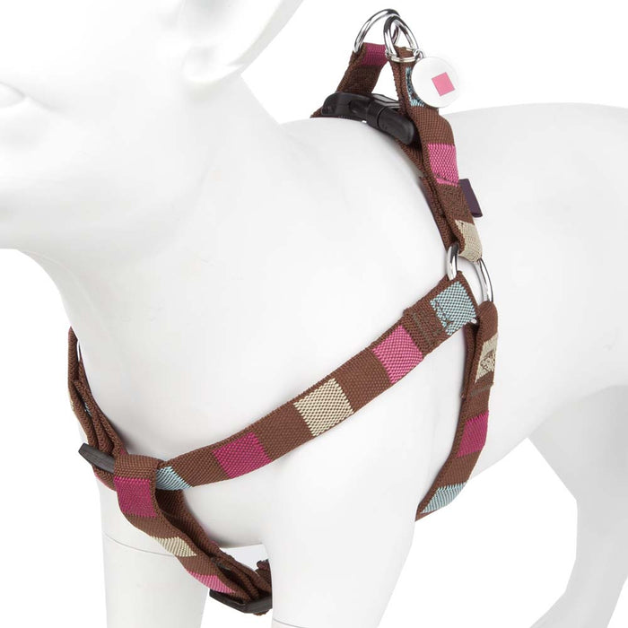 Pet Dog Harness Nylon Adjustable Square Print Strap -Small-Brown/Multi