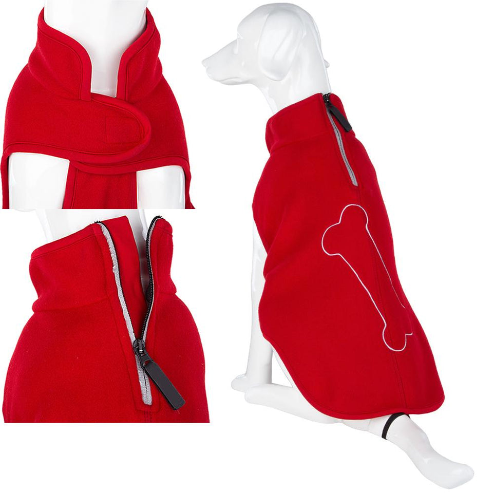 Pet Clothing - Warm Dog Jumper Bone Red 44cm