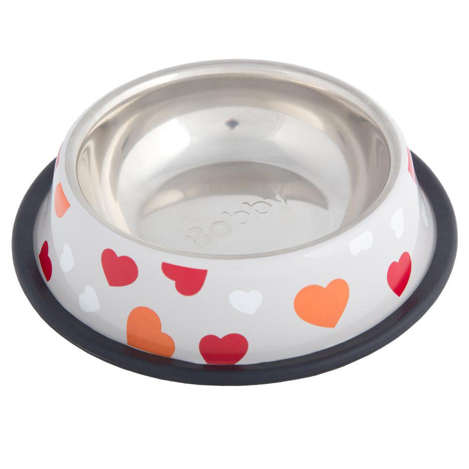 Non Slip Stainless Steel Kitten Feeding Bowl - Orange - Hearts - Small