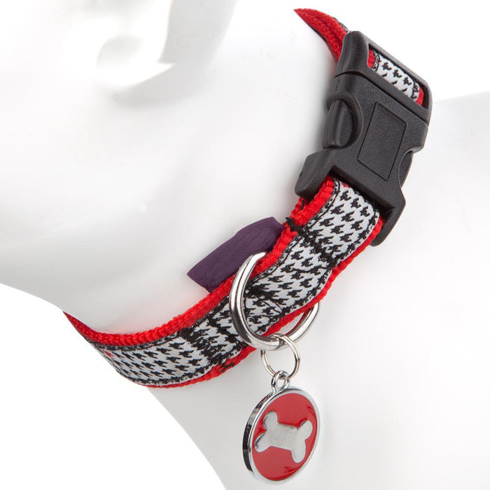 Supplies - Dog Puppy Collar & Tag Red/Black - XS 18-24cm