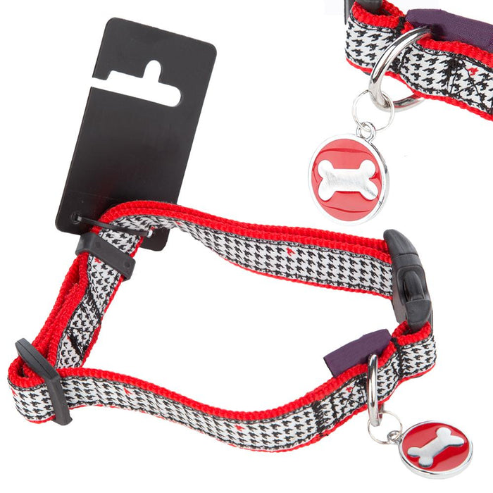 Pet Dog Puppy Collar & Tag Red/Black - XS 18-24cm