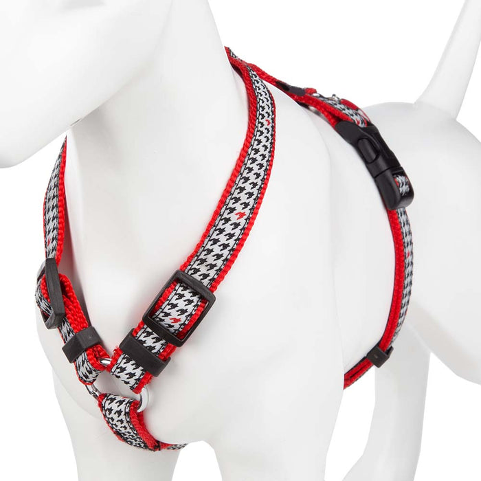 Adjustable Pet Dog Puppy Harness & Clip - Nylon - Red/Black - Small