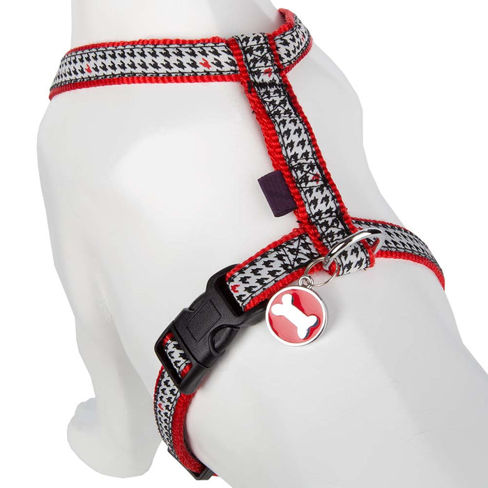 Adjustable Pet Dog Puppy Harness & Clip - Nylon - Black/White X Small