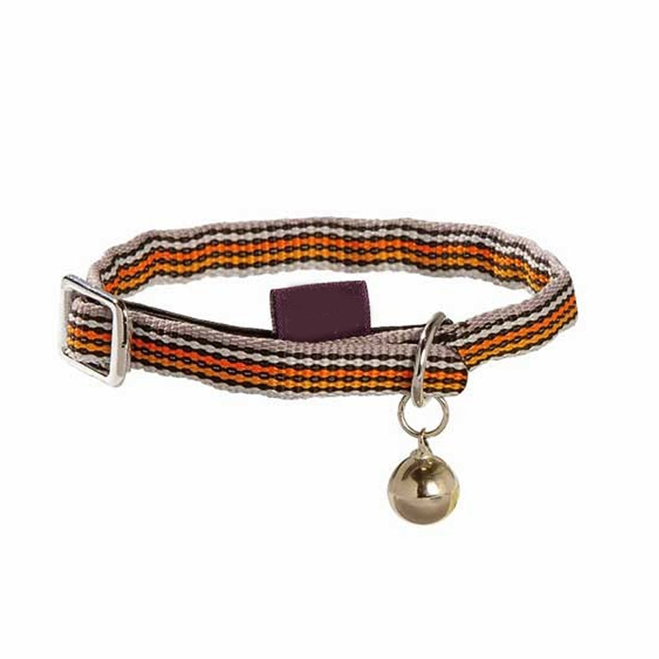 Pet Supplies - Pet Cat Kitten Collar & Bell Striped Orange- 31cm