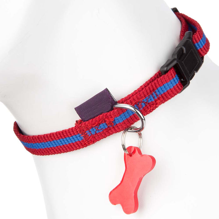 Pet Supplies - Pet Dog Puppy Collar & Tag Red/Blue 19-25cm