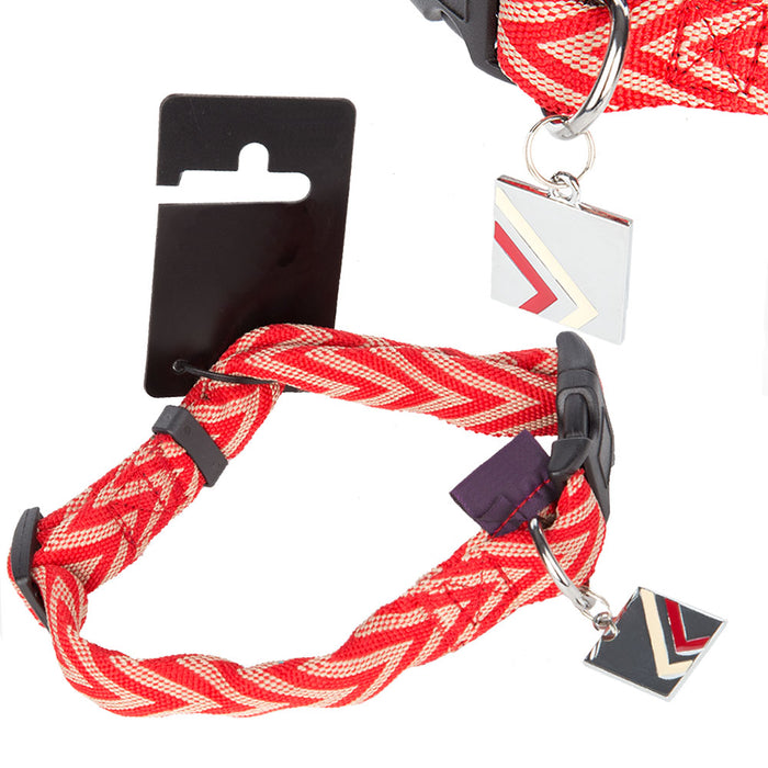 Pet Dog Puppy Collar Chevron Red - M - 32-40cm