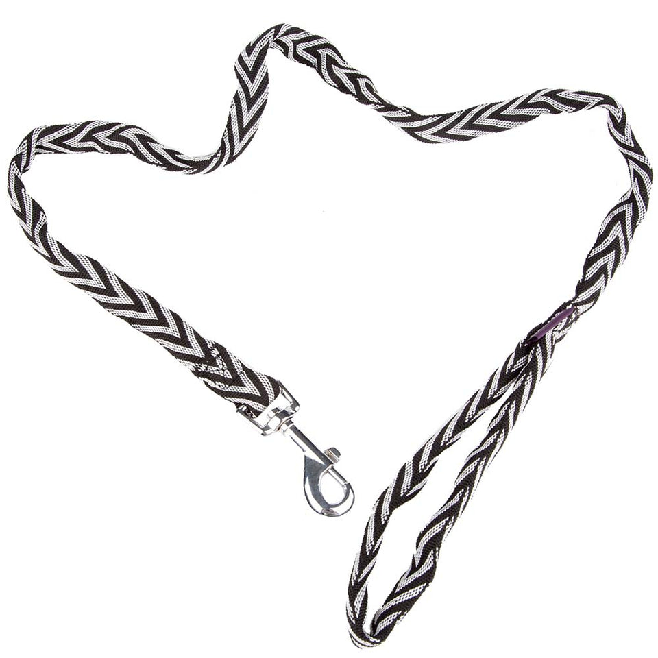 Pet Supplies - Dog Lead & Clip Black Chevron 1m - 2.5cm - L