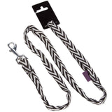 Pet Dog Lead & Clip Black Chevron - 1m - 2.5cm - L