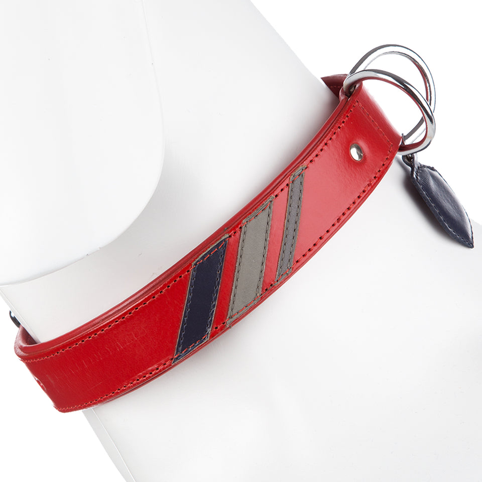 Pet Supplies - Striped Pet Dog Collar & Buckle Leather Red - L 33-40cm