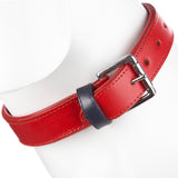 Striped Pet Dog Collar & Buckle Leather Red - L 33-40cm