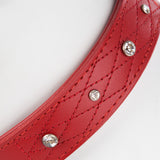 Pet Dog Puppy Collar & Buckle Leather Red - M -43-48cm