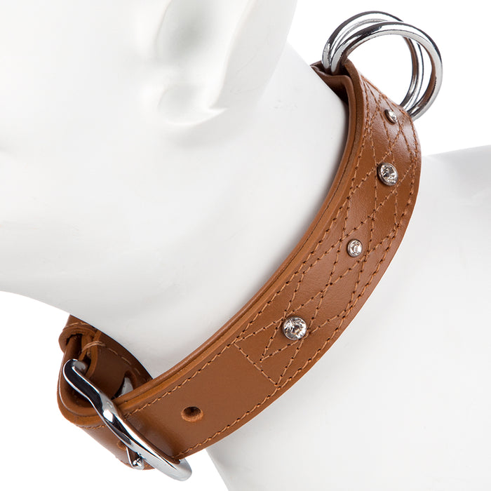 Pet Supplies - Pet Dog Puppy Collar & Buckle Leather Brown XS -29-34cm