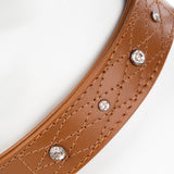 Pet Dog Puppy Collar & Buckle Leather Brown XS -29-34cm