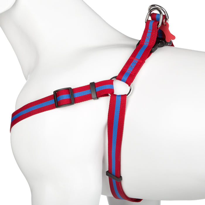 Pet Puppy Dog Harness Nylon Adjustable Striped Strap -Small- Red/Blue