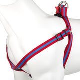 Pet Puppy Dog Harness Nylon Adjustable Striped Strap - Medium Red/Blue