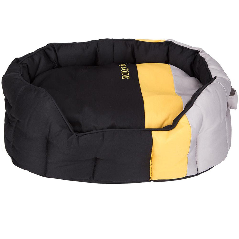 Oval Pet Bed Cushion - Black Yellow Grey Striped - Small - 49cm x 38cm
