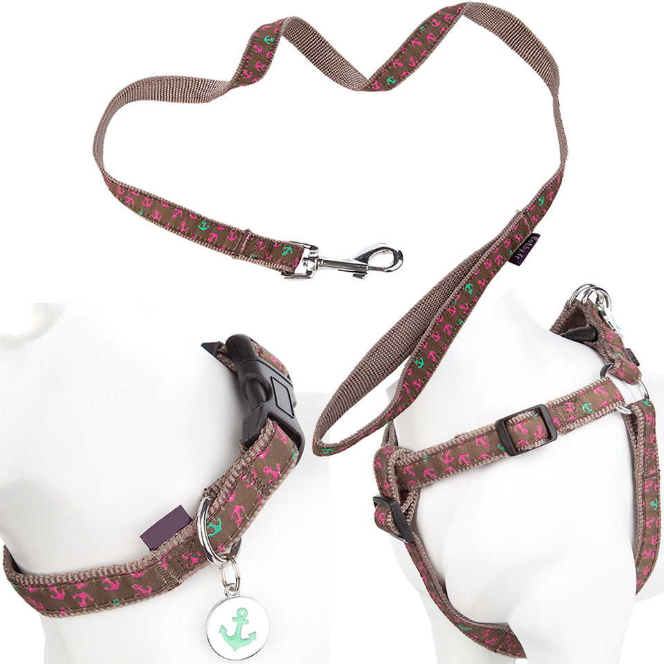 Pet Dog Puppy Adjustable Collar, Lead & Harness Set - Brown Anchor -S