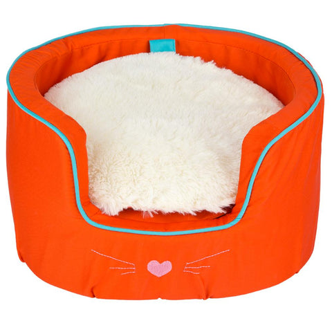 Round Cat Bed Fur Cushion & Storage Orange 37x22cm