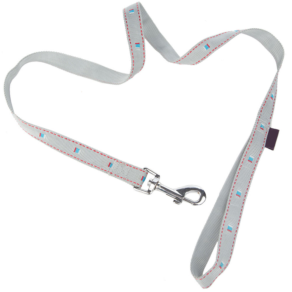 Pet Supplies - Pet Dog Lead & Clip Grey/Silver - 1m - 2cm