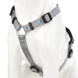 Adjustable Pet Dog Puppy Harness & Clip - Soft Nylon - Grey - Medium