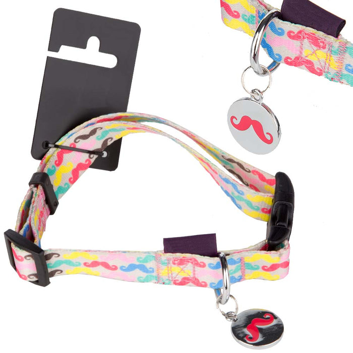 Pet Dog Puppy Collar Moustache Multi - M 32-50cm