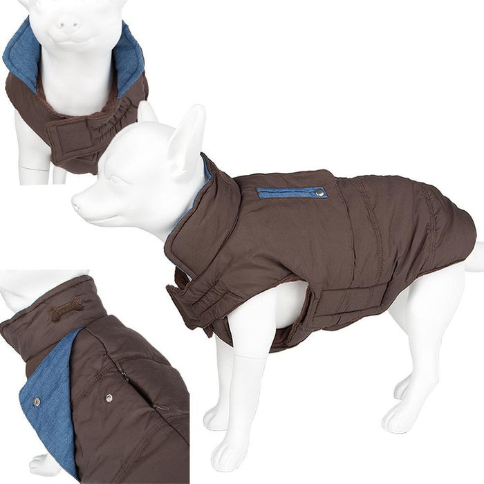 Pet Dog Waterproof Outdoor Coat - Soft Warm Padded - Brown 44 Large