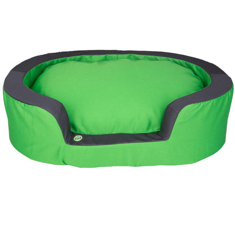 Oval Pet Dog Bed Green/Grey - Medium