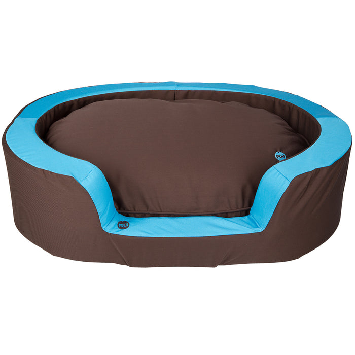 Pet Supplies - Oval Pet Dog Bed Brown/Blue - X Small - 45cm