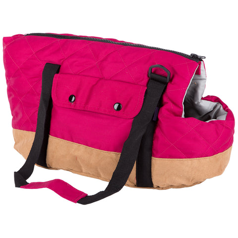 Dog Puppy Pet Carrier Shoulder Travel Bag - Pink/Tan - Small - 40cm