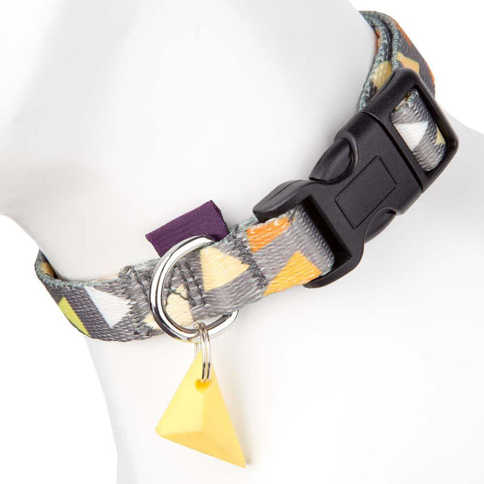 Pet Dog Puppy Adjustable Collar - Nylon - Grey/Yellow - M - 32-50cm