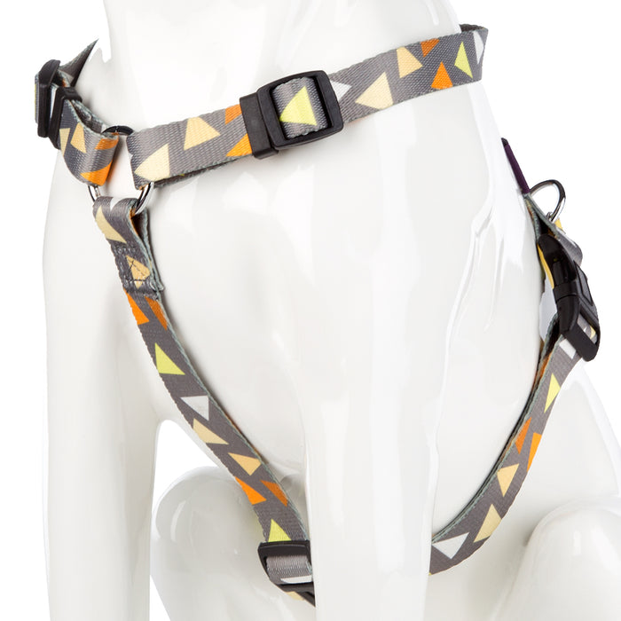 Pet Puppy Dog Harness Nylon Adjustable Triangle Strap -Small- Yellow