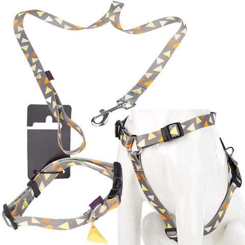 Pet Dog Puppy Adjustable Collar, Lead & Harness Set - Grey/Yellow - S