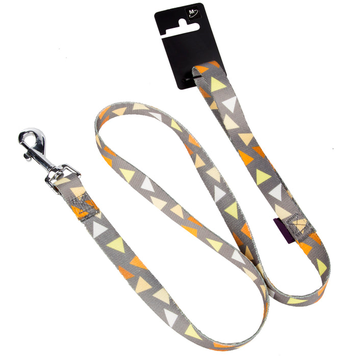 Pet Dog Lead & Clip Yellow/Grey - 1m - 1.6cm - S
