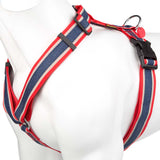 Pet Puppy Dog Harness Nylon Adjustable Denim Strap - X Large -Red/Blue